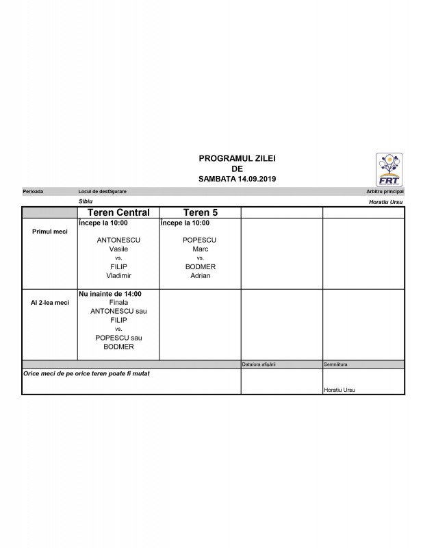 Program Sambata 14.09